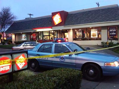 Police Confirm The Jack In The Box On Admiral Way Was Robbed Around  This Morning Police Are Looking For Two Suspects Described As Black Males Wearing