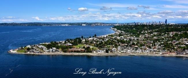 Alki Point Lighthouse, Alki Beach, West Seattle, Puget Sound, Downtown Seattle, Washington 210 Large e-mail view