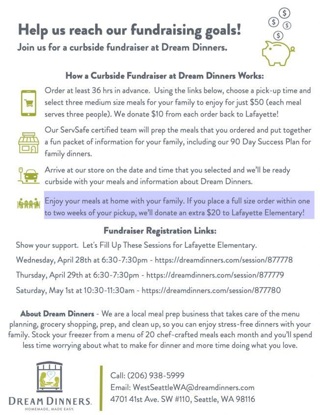 Dream Dinners fundraiser for Lafayette Elementary PTA