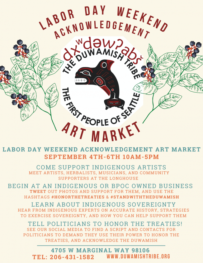 Labor Day Weekend Acknowledgment Native Art Market @ Duwamish Longhouse